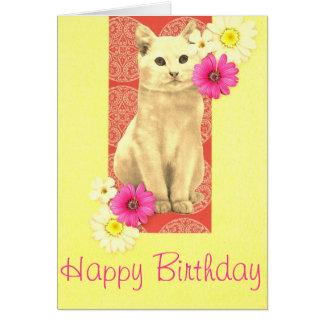 Tarjeta de felicitación del cumpleaños del gato y