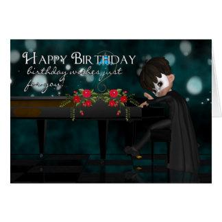 Tarjeta de felicitación del cumpleaños del piano