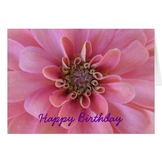 Tarjeta de felicitación del cumpleaños, zinnia