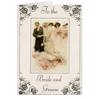 Tarjeta de felicitación del día de boda