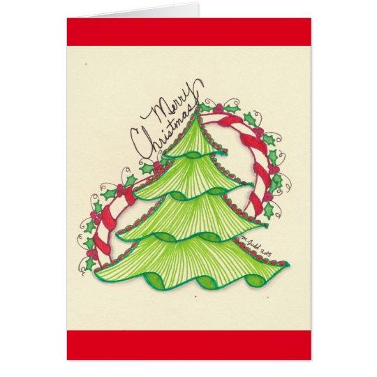 Tarjeta de felicitación del dibujo del árbol de
