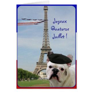 Tarjeta de felicitación del dogo francés de Quator