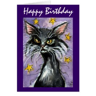 Tarjeta de felicitación del gato negro del feliz