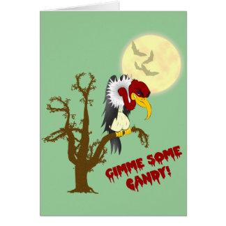 Tarjeta de felicitación del halcón de Halloween