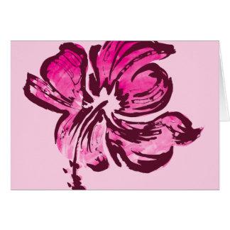 Tarjeta de felicitación del hibisco de la acuarela