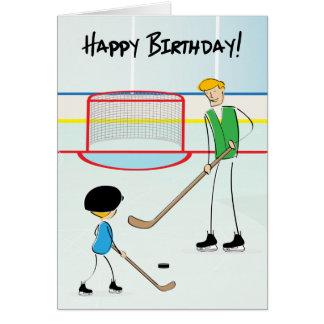 Tarjeta de felicitación del hockey del feliz cumpl