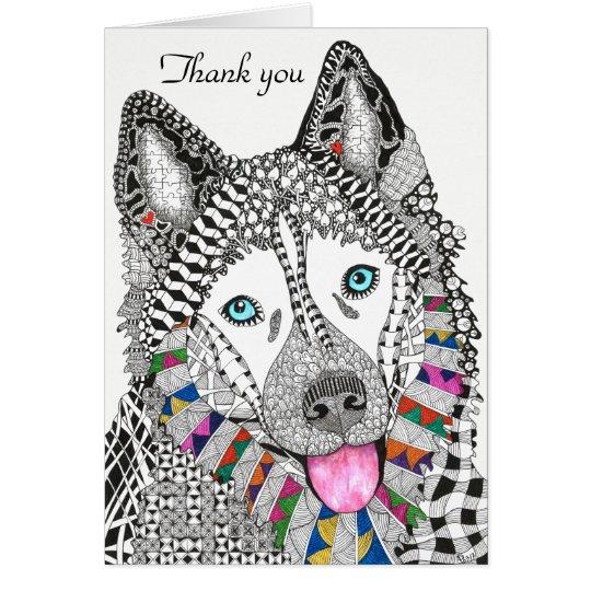 Tarjeta de felicitación del husky siberiano (usted