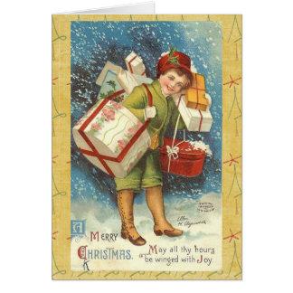 Tarjeta de felicitación del muchacho del navidad