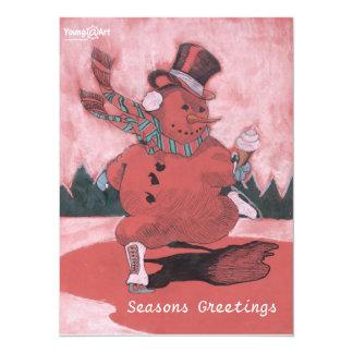 Tarjeta de felicitación del muñeco de nieve invitación 13,9 x 19,0 cm