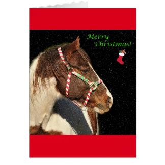 Tarjeta de felicitación del navidad con el caballo