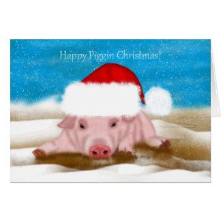 Tarjeta de felicitación del navidad con el cerdo