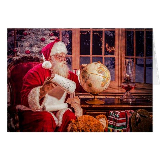 Tarjeta de felicitación del navidad con Santa