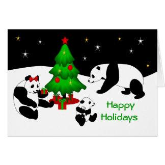 Tarjeta de felicitación del navidad de la panda