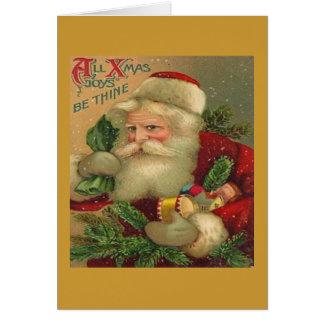 Tarjeta de felicitación del navidad de Papá Noel