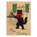 Tarjeta de felicitación del navidad del gato negro
