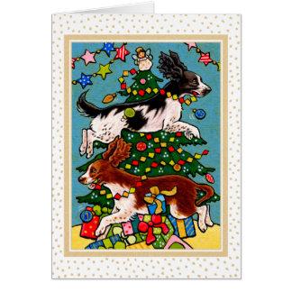 Tarjeta de felicitación del navidad del perro del