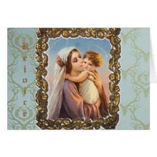 """Tarjeta de felicitación del navidad """"Madonna y"""