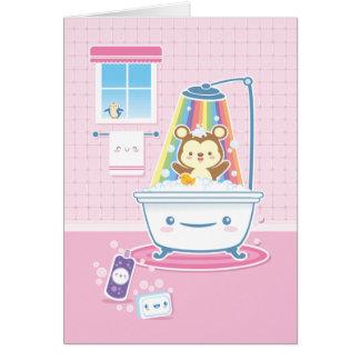 Tarjeta de felicitación del oso de Bathtime