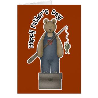 Tarjeta de felicitación del oso de la pesca del dí
