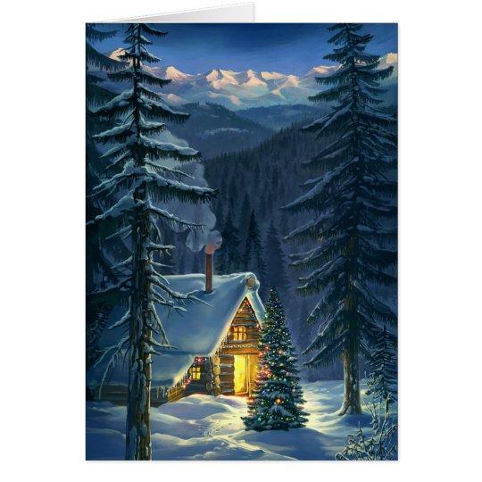 Tarjeta de felicitación del paisaje de la nieve