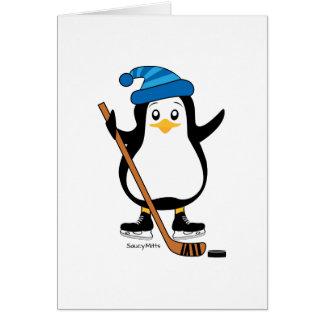 Tarjeta de felicitación del pingüino del hockey