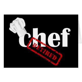 Tarjeta de felicitación del retiro del cocinero