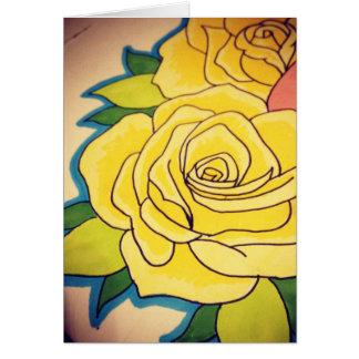 Tarjeta de felicitación del rosa amarillo