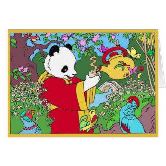 Tarjeta de felicitación del té verde