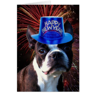 Tarjeta de felicitación del terrier de Boston de