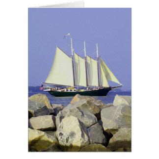 Tarjeta de felicitación del velero de Jamestown