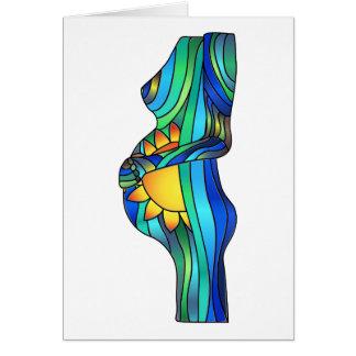 Tarjeta de felicitación del vitral del embarazo