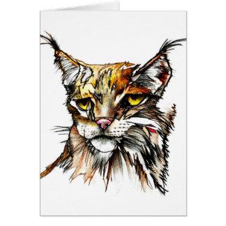 Tarjeta de felicitación: Dibujo salvaje del gato