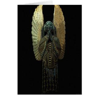 Tarjeta de felicitación dorada del ángel