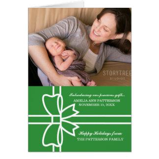 Tarjeta de felicitación dotada verde de la foto