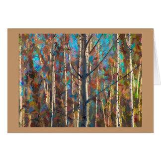 Tarjeta de felicitación en blanco con los árboles