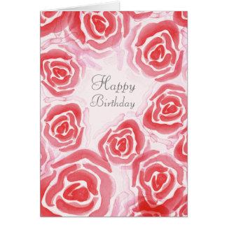 Tarjeta de felicitación en blanco de los rosas de