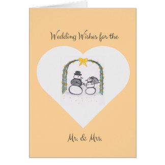 Tarjeta de felicitación en blanco del boda del