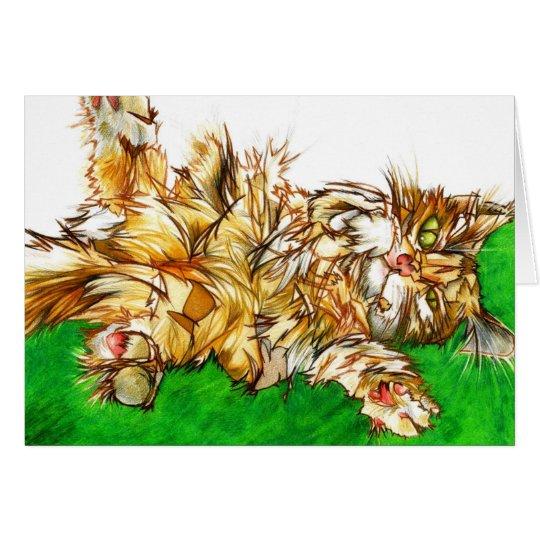 Tarjeta de felicitación en blanco: Gato de Tabby