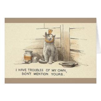 Tarjeta de felicitación enferma chistosa del gato