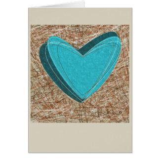 Tarjeta de felicitación enredada de los corazones.