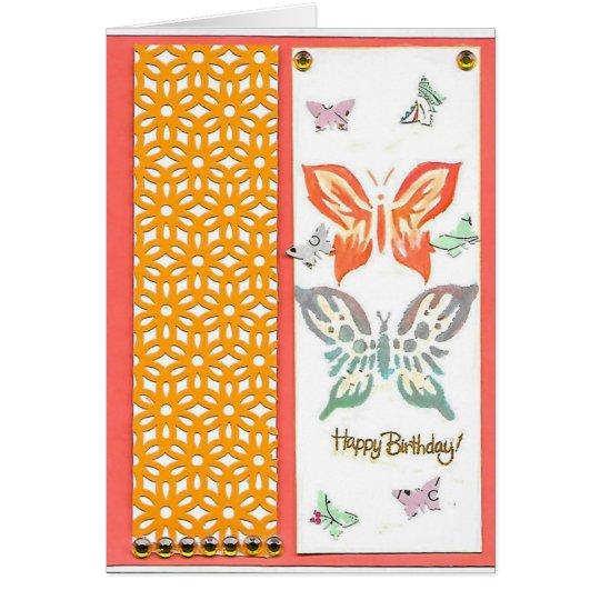 Tarjeta de felicitación feliz de las mariposas
