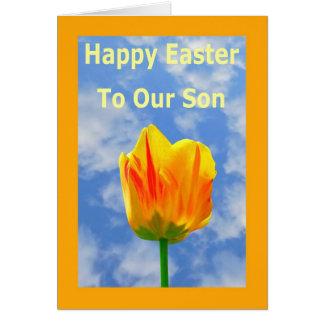 Tarjeta de felicitación feliz de Pascua para nuest