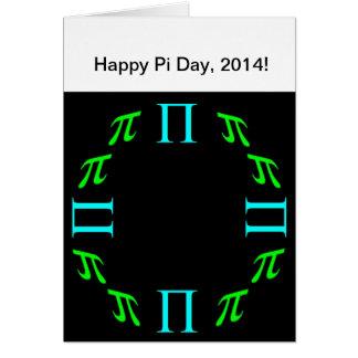 Tarjeta de felicitación feliz del día del pi 03,14