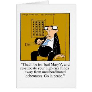 Tarjeta de felicitación financiera divertida del