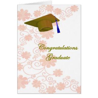 Tarjeta de felicitación floral de la graduación
