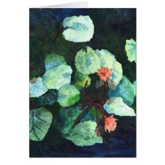 Tarjeta de felicitación floral del verde azul de