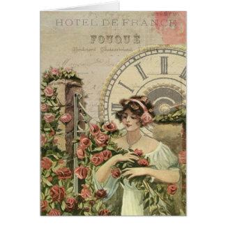 Tarjeta de felicitación francesa de los rosas del