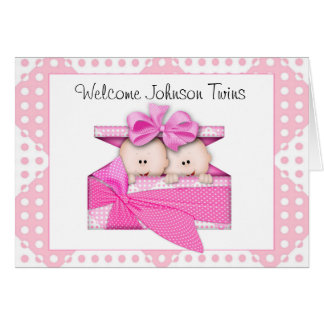Tarjeta de felicitación gemela de encargo de los