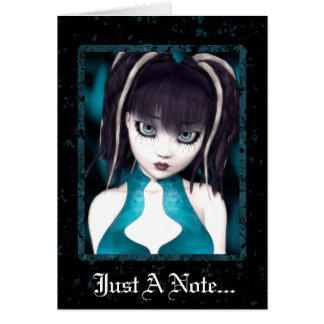 Tarjeta de felicitación gótica de la muñeca del