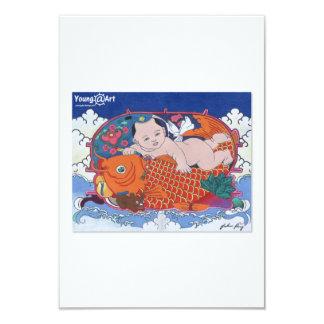 Tarjeta de felicitación grande de los pescados invitación 8,9 x 12,7 cm